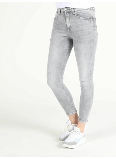 Colin's Colin'S 760 Diana Yüksek Bel Dar Paça Pamuklu Dar Kesim Kadın Jean Pantolon Mavi